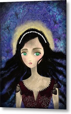Portrait Of A Girl In A Forest During The Full Moon Metal Print by Yazmin Basa