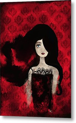 Portrait Of A Lady Amidst A Red Damask Background Metal Print by Yazmin Basa