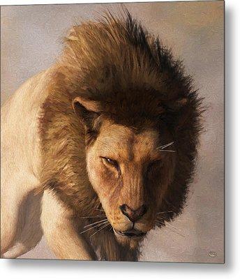 Metal Print featuring the digital art Portrait Of A Lion by Daniel Eskridge