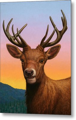 Portrait Of A Red Deer Metal Print by James W Johnson