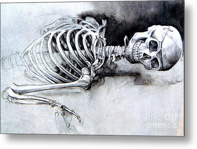 Portrait Of A Skeleton Metal Print by Linda Shackelford