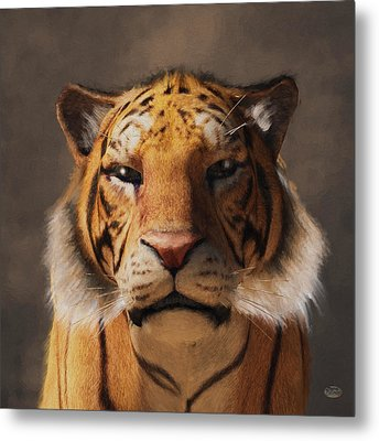 Metal Print featuring the digital art Portrait Of A Tiger by Daniel Eskridge