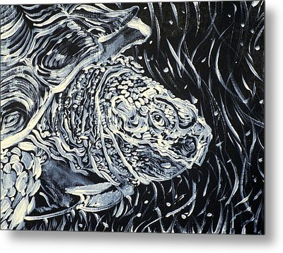 Metal Print featuring the painting Portrait Of A Turtle by Fabrizio Cassetta