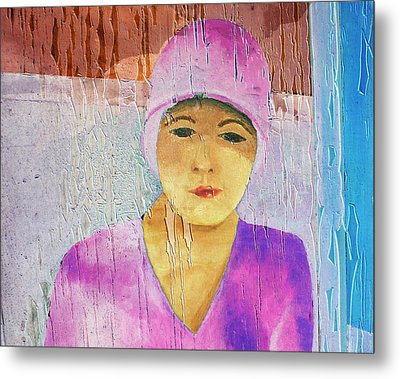 Portrait Of A Woman On A Downtown Wall Metal Print