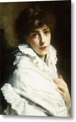 Portrait Of A Young Girl In White Metal Print by Gustave Jacquet