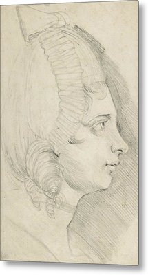 Portrait Of A Young Lady Drawn In Left Profile Metal Print