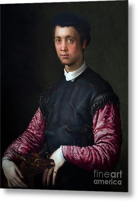 Portrait Of A Young Man With A Fawn, By Francesco Salviati, Circ Metal Print by Peter Barritt
