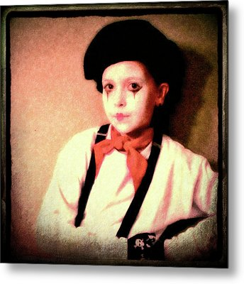 Portrait Of A Young Mime Metal Print
