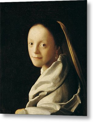 Portrait Of A Young Woman Metal Print by Jan Vermeer