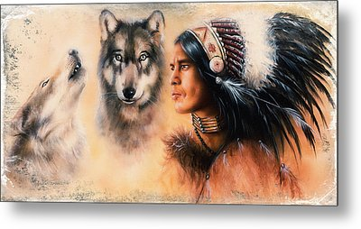 Portrait Of American Indian In National Dress  On Color Backgrou Metal Print by Jozef Klopacka