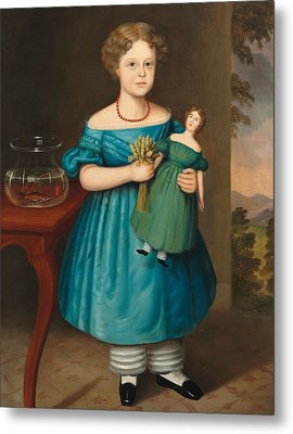 Portrait Of Amy Philpot In A Blue Dress With Doll And Goldfish Metal Print