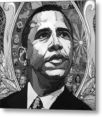 Portrait Of Barak Obama Metal Print by John Gibbs