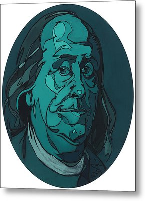 Portrait Of Benjamin Franklin Metal Print