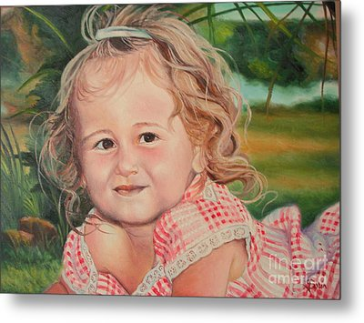 Metal Print featuring the painting Portrait Of Child by Sorin Apostolescu
