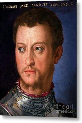 Portrait Of Cosimo I De' Medici, By Agnolo Bronzino, Circa 1560, Metal Print by Peter Barritt
