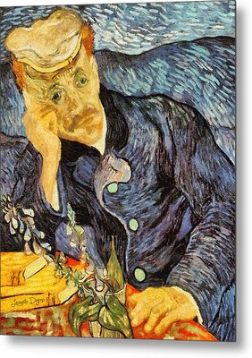 Portrait Of Dr. Gachet By Van Gogh Revisited Metal Print