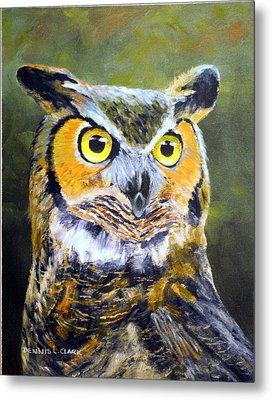 Portrait Of Great Horned Owl Metal Print by Dennis Clark