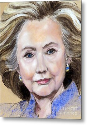 Pastel Portrait Of Hillary Clinton Metal Print by Greta Corens