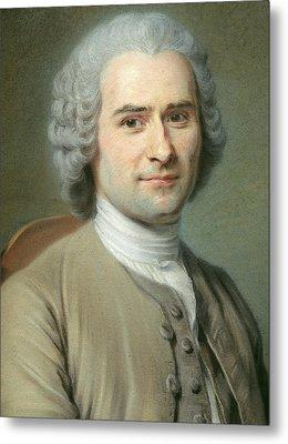 Portrait Of Jean Jacques Rousseau Metal Print by Maurice Quentin de la Tour