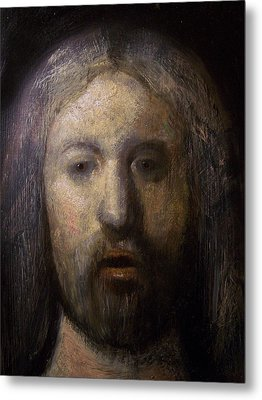 Portrait Of Jesus Christ Detail Metal Print by Derek Van Derven