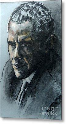 Charcoal Portrait Of President Obama Metal Print
