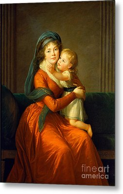 Portrait Of Princess Alexandra Golitsyna And Her Son Piotr Metal Print by Celestial Images