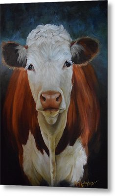 Metal Print featuring the painting Portrait Of Sally The Cow by Cheri Wollenberg
