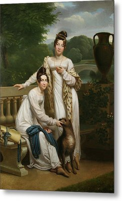 Portrait Of The Misses De Balleroy In A Landscape With A Dog Metal Print by Henri Francois