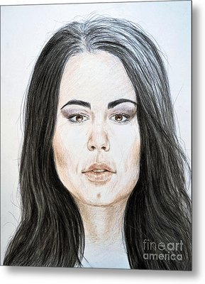 Portrait Of Wwe Superstar Paige Metal Print by Jim Fitzpatrick