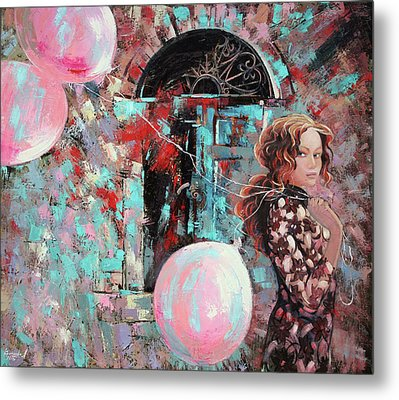 Metal Print featuring the painting Portrait. Pink Dreams by Anastasija Kraineva