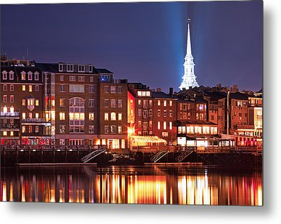 Portsmouth Waterfront At Night Metal Print