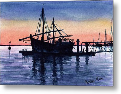 Metal Print featuring the painting Portuguese Fishing Boat by Dora Hathazi Mendes