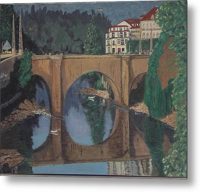 Portuguese River Bridge Metal Print by Hilda and Jose Garrancho
