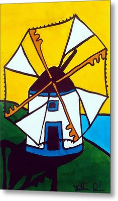 Metal Print featuring the painting Portuguese Singing Windmill By Dora Hathazi Mendes by Dora Hathazi Mendes