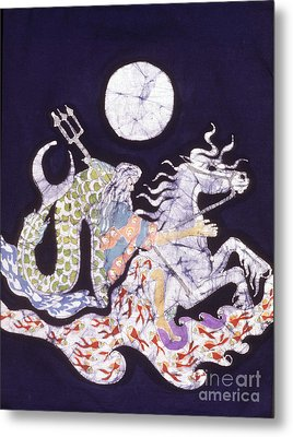 Poseidon Rides The Sea On A Moonlight Night Metal Print by Carol  Law Conklin