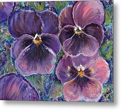 Posing Pansies Metal Print by Renee Lavoie