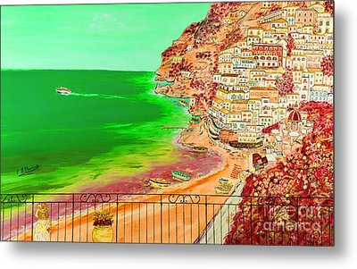 Metal Print featuring the painting Positano Bay by Loredana Messina