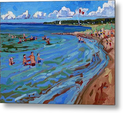 Positively Buoyant Beach People Metal Print by Phil Chadwick