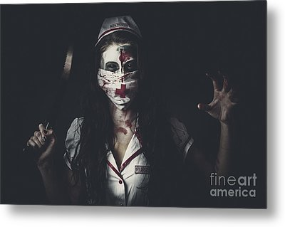 Possessed Health Practitioner With Surgeon Saw Metal Print