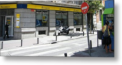 Post Office And Public Telephone On Mejia Lequerica Street - Madrid Metal Print by Thomas Bussmann