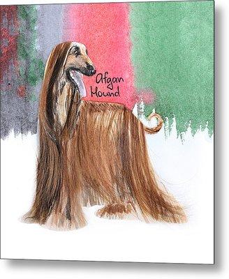Watercolor Postcard Dogs Afgan Hound Metal Print