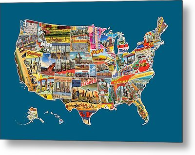 Postcards Of The United States Vintage Usa All 50 States Map Metal Print by Design Turnpike