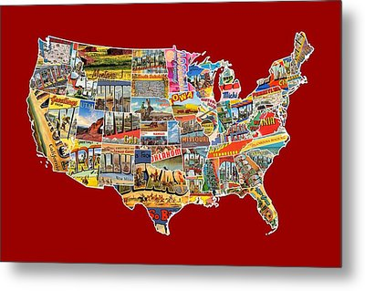 Postcards Of The United States Vintage Usa Lower 48 Map Choose Your Own Background Metal Print by Design Turnpike