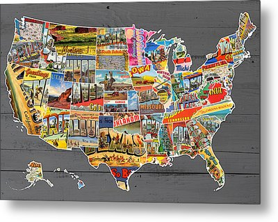 Postcards Of The United States Vintage Usa Map On Gray Wood Background Metal Print