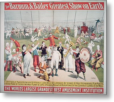 Poster Advertising The Barnum And Bailey Greatest Show On Earth Metal Print by American School
