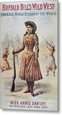 Poster For Buffalo Bill's Wild West Show With Annie Oakley Metal Print