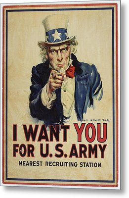 Poster, I Want You, April 1917, United States, By James Montgomery Flagg, United States Government Metal Print