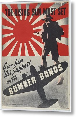 Poster The Rising Sun Must Set 1942 Wellington By New Zealand National Savings Committee. Metal Print by Celestial Images