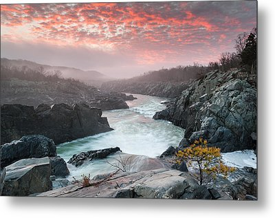 Potomac River At Great Falls Sunrise Landscape Metal Print by Mark VanDyke