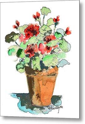Potted Geraniums Metal Print by Arline Wagner